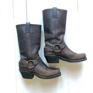 FRYE Brown Square Toe Leather Harness Moto Boots